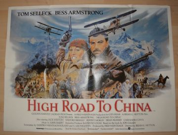 High Road to China (1983) Tom Selleck Film Poster - UK Quad